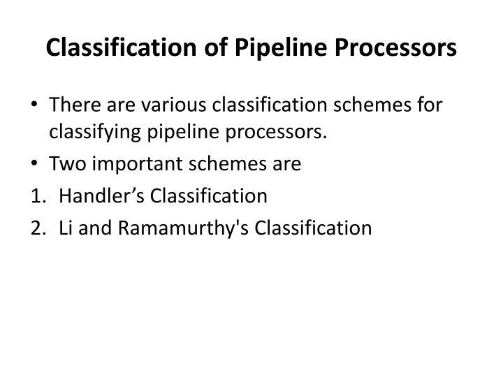 Classification of Pipeline Processors