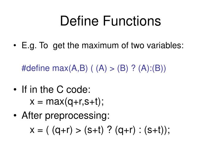 Define Functions