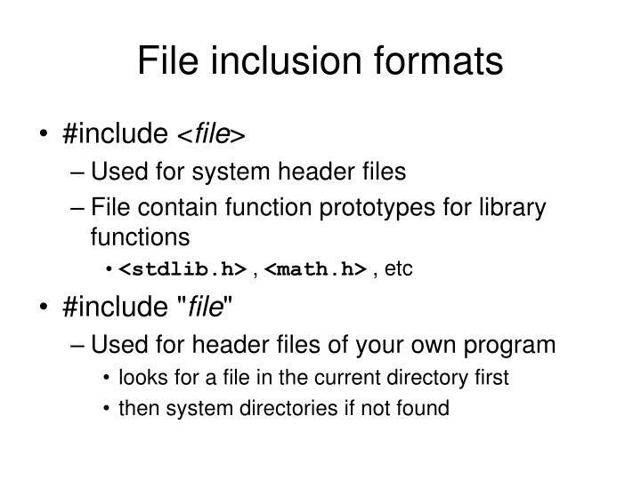 File inclusion formats