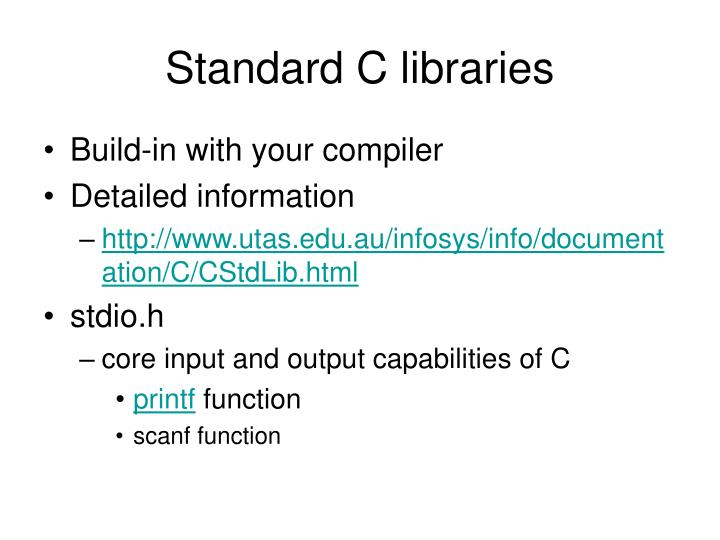 Standard C libraries