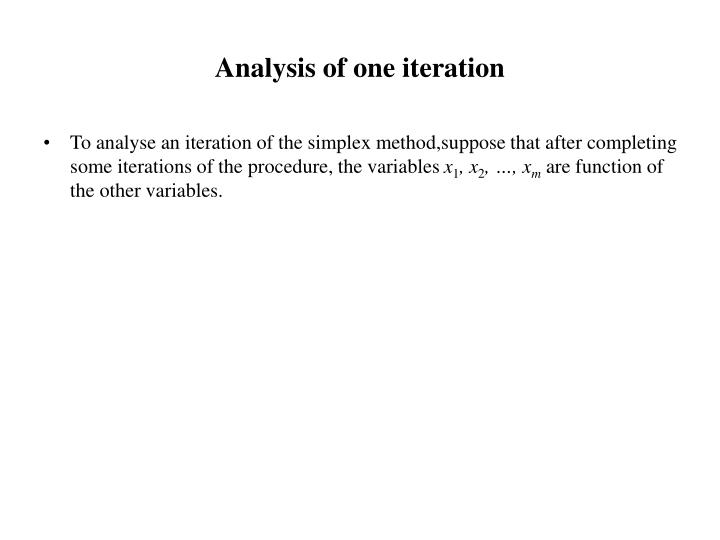 Analysis of one iteration