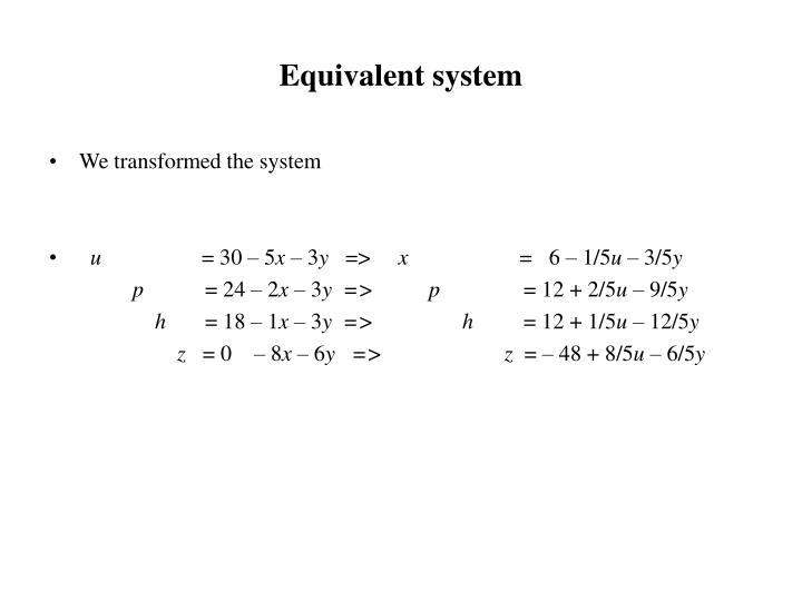Equivalent system