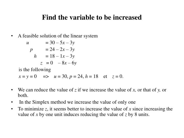Find the variable to be increased