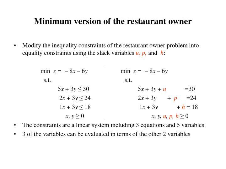 Minimum version of the restaurant owner