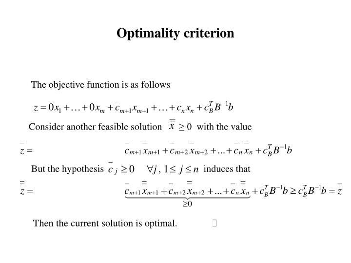 Optimality criterion