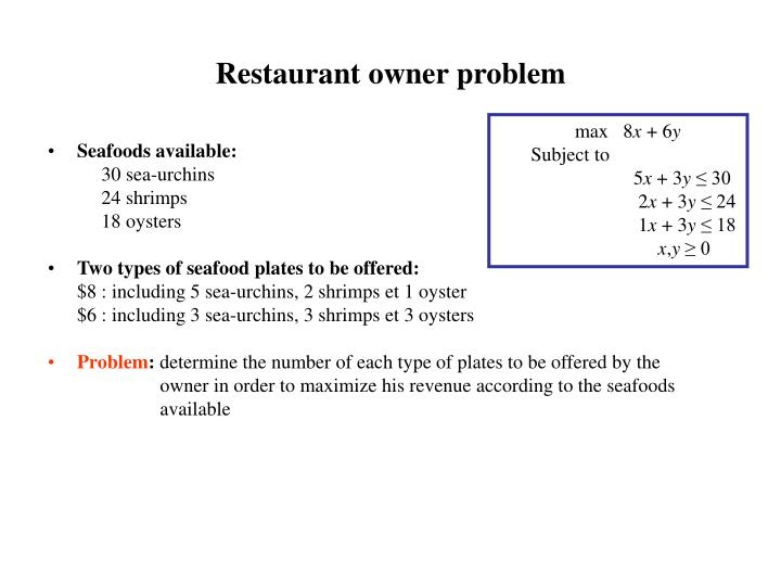 Restaurant owner problem