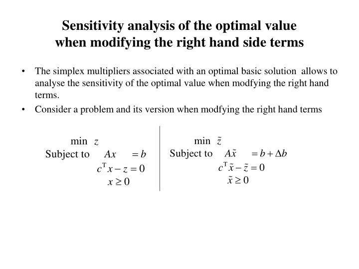 Sensitivity analysis of the optimal value