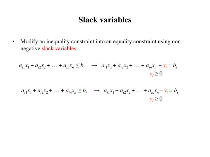 Slack variables