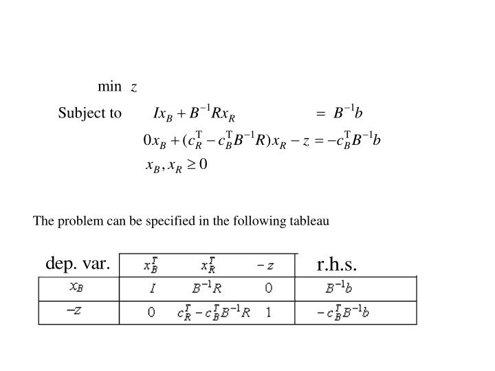 The problem can be specified in the following tableau