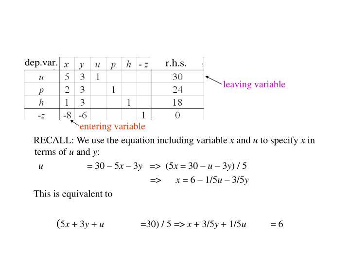 leaving variable
