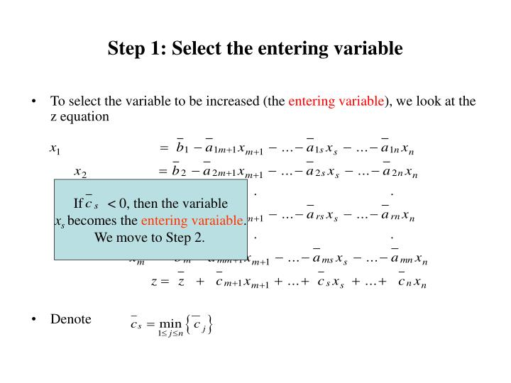 Step 1: Select the entering variable