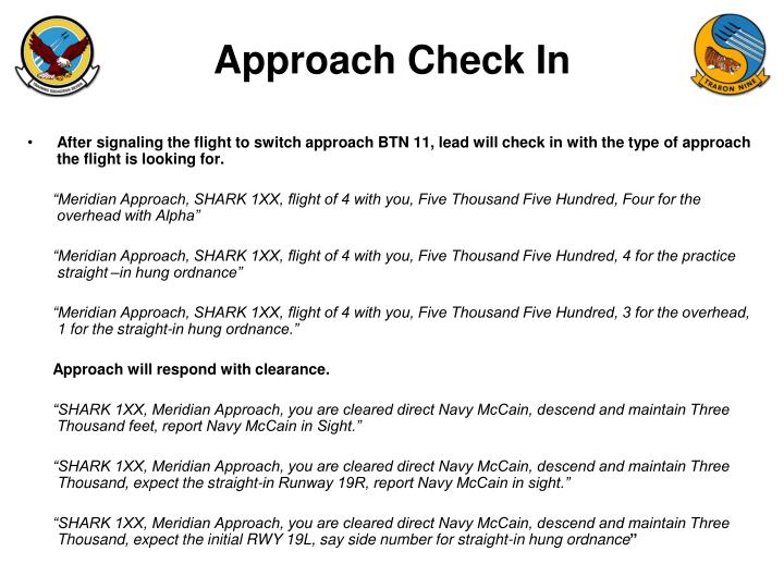 Approach Check In