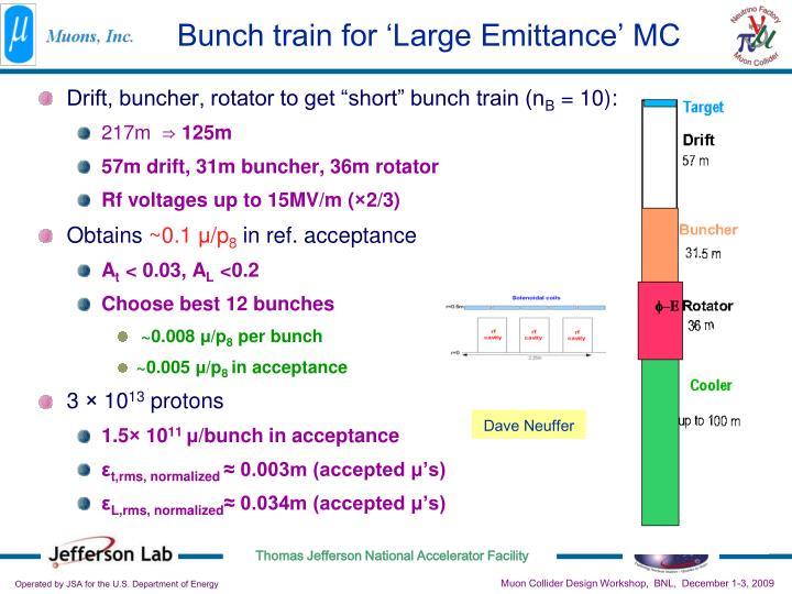 Bunch train for 'Large Emittance' MC