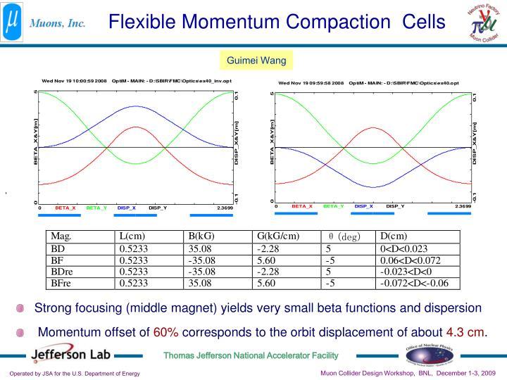 Flexible Momentum Compaction  Cells