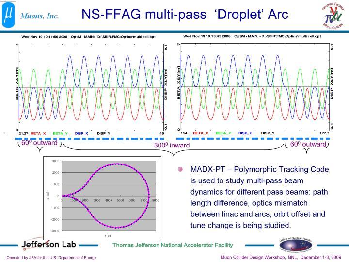 NS-FFAG multi-pass  'Droplet' Arc