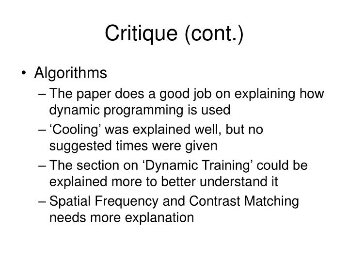 Critique (cont.)