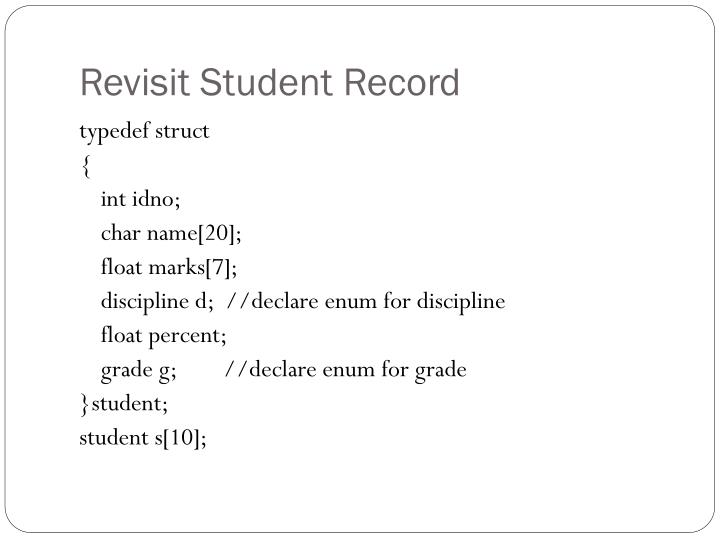 Revisit Student Record