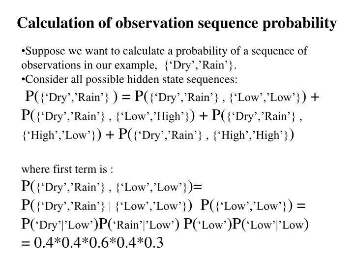 Calculation of observation sequence probability
