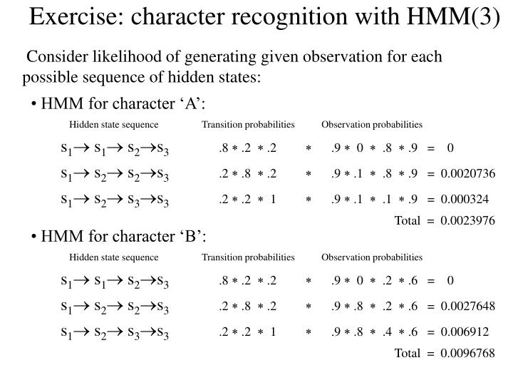 Exercise: character recognition with HMM(3)