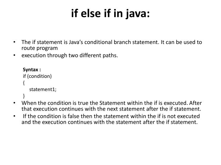 if else if in java: