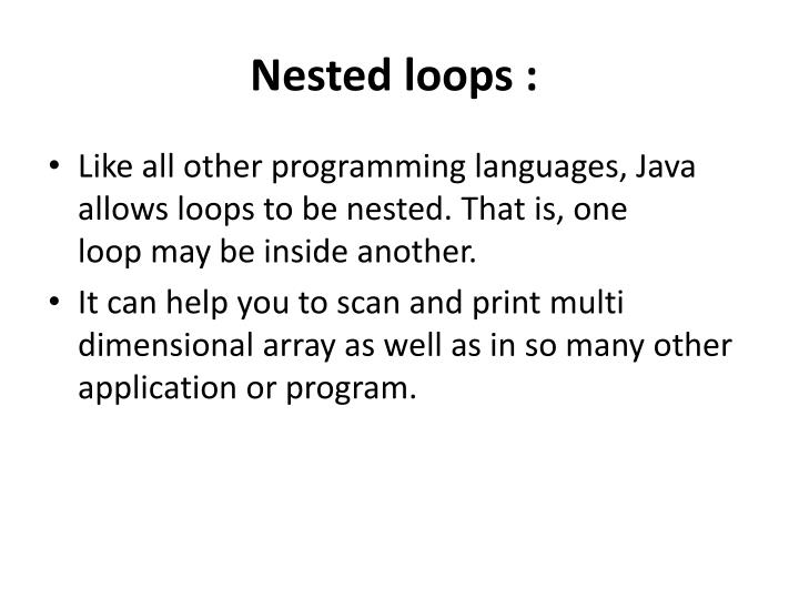 Nested loops :
