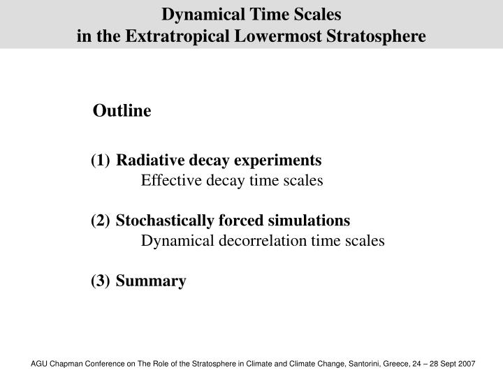 Dynamical Time Scales
