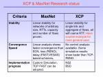 xcp maxnet research status