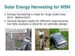 solar energy harvesting for wsn