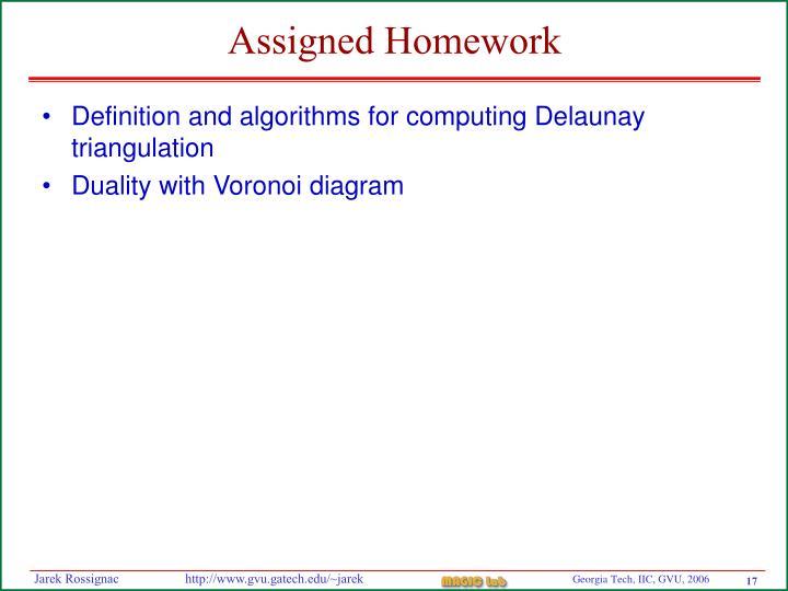 Assigned Homework