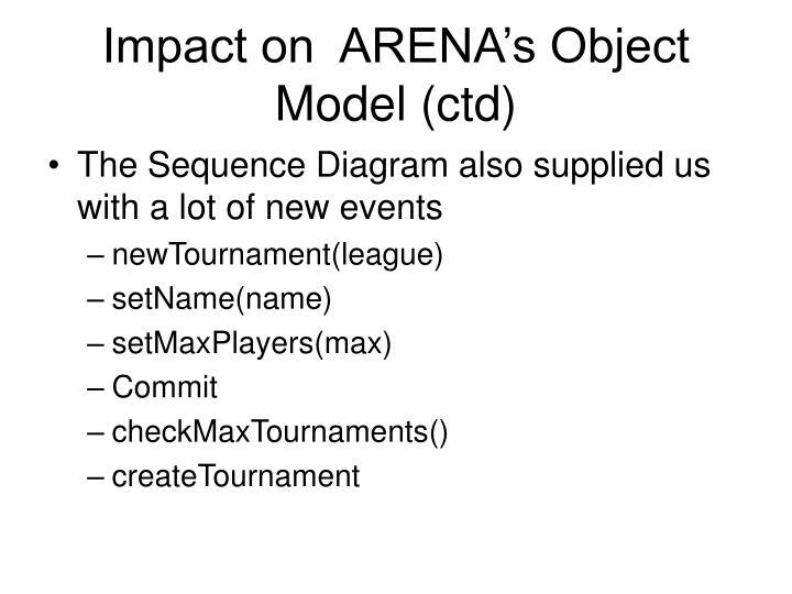 Impact on  ARENA's Object Model (ctd)