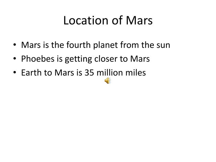 Location of mars