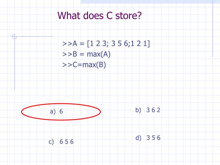 What does C store?
