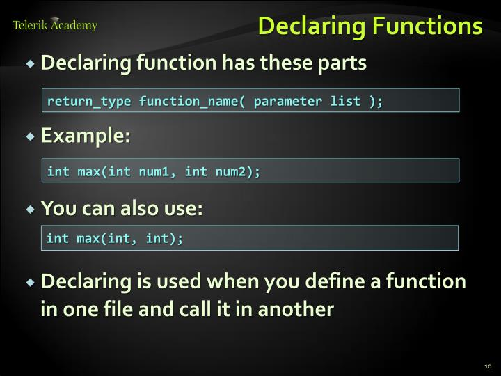 Declaring Functions