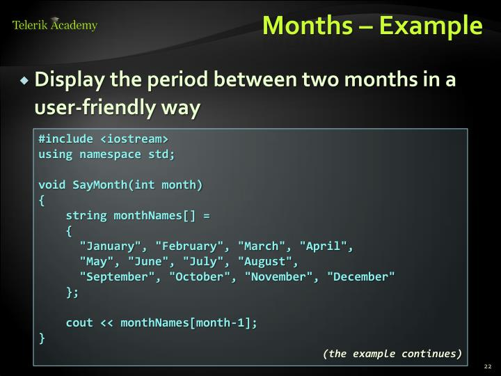 Months – Example