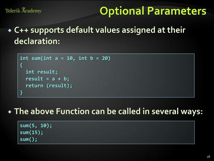 Optional Parameters
