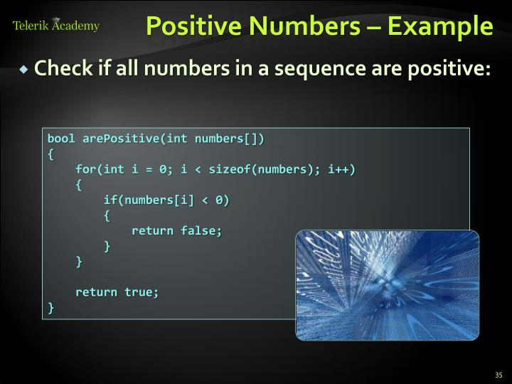 Positive Numbers – Example