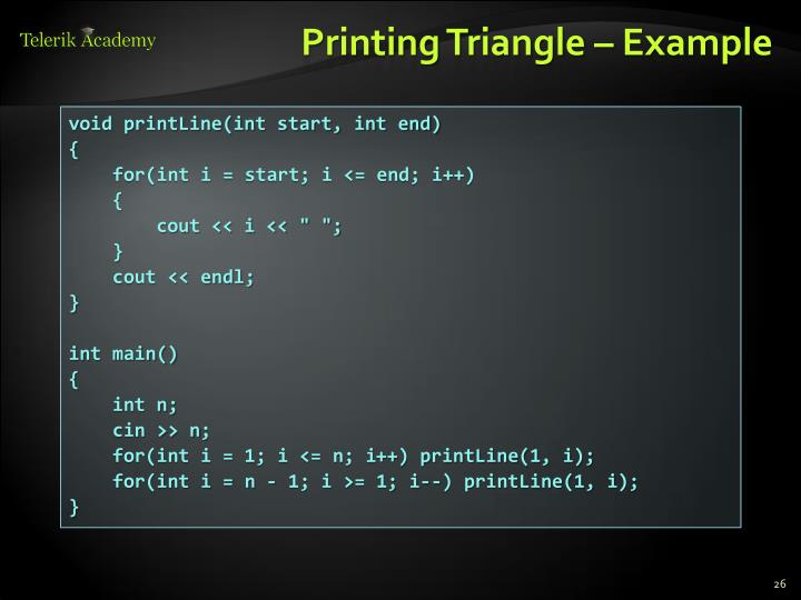 Printing Triangle – Example