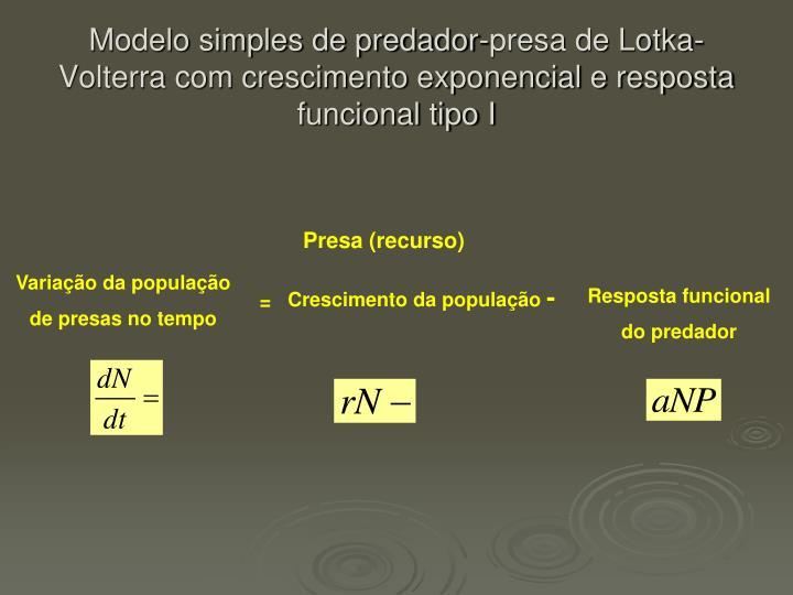 Modelo simples de predador-presa de Lotka-Volterra com crescimento exponencial e resposta funcional tipo I