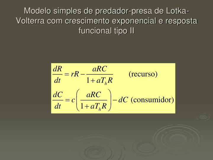 Modelo simples de predador-presa de Lotka-Volterra com crescimento exponencial e resposta funcional tipo II