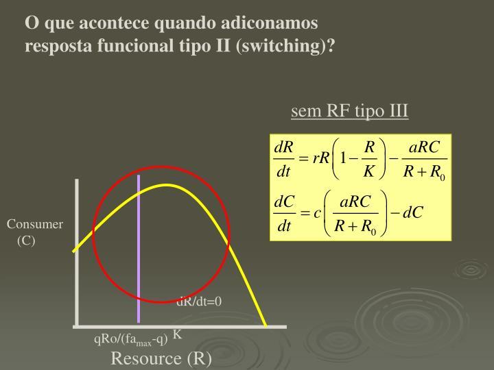 O que acontece quando adiconamos resposta funcional tipo II (switching)?