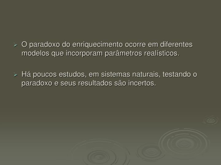 O paradoxo do enriquecimento ocorre em diferentes modelos que incorporam parâmetros realísticos.