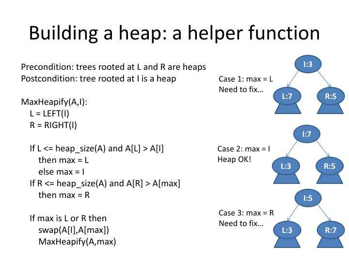 Building a heap: a helper function