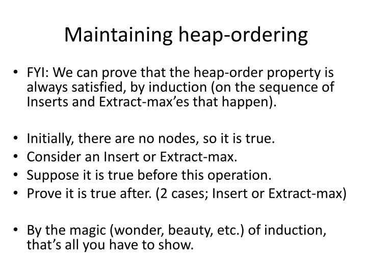 Maintaining heap-ordering