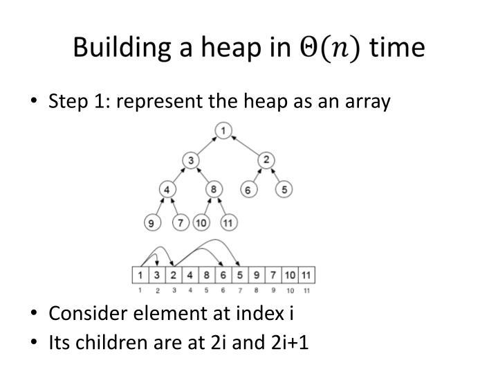 Step 1: represent the heap as an array