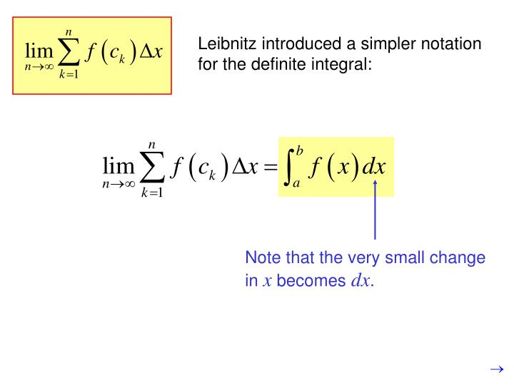 Leibnitz introduced a simpler notation for the definite integral: