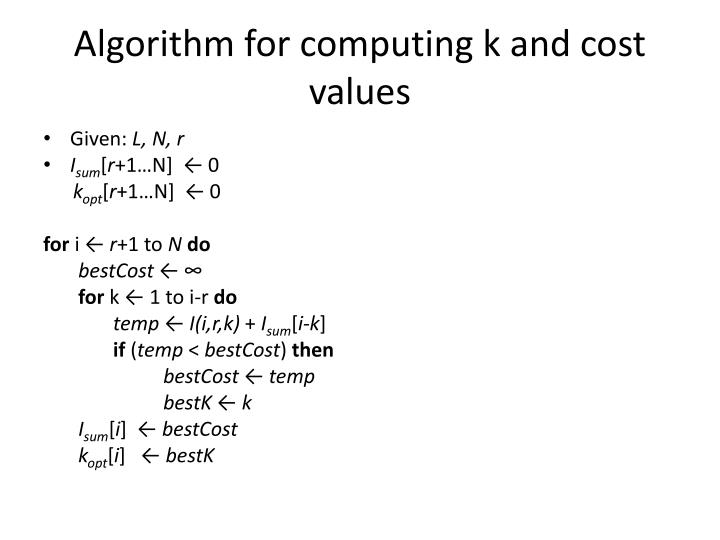 Algorithm for computing k and cost values