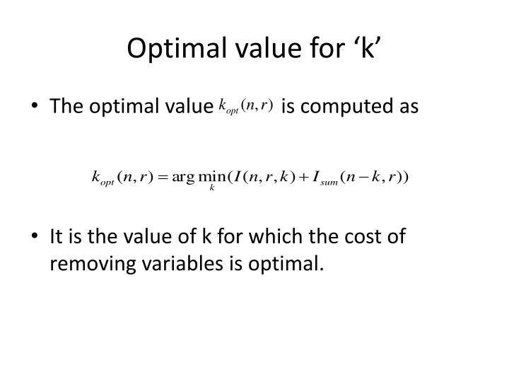 Optimal value for 'k'