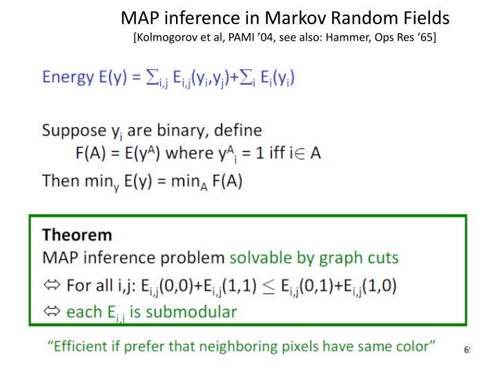 MAP inference in Markov Random Fields