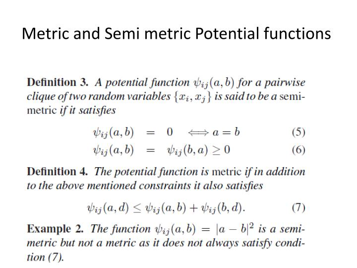 Metric and Semi metric Potential functions