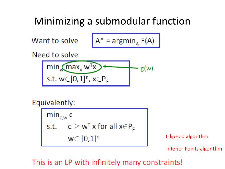 Minimizing a submodular function